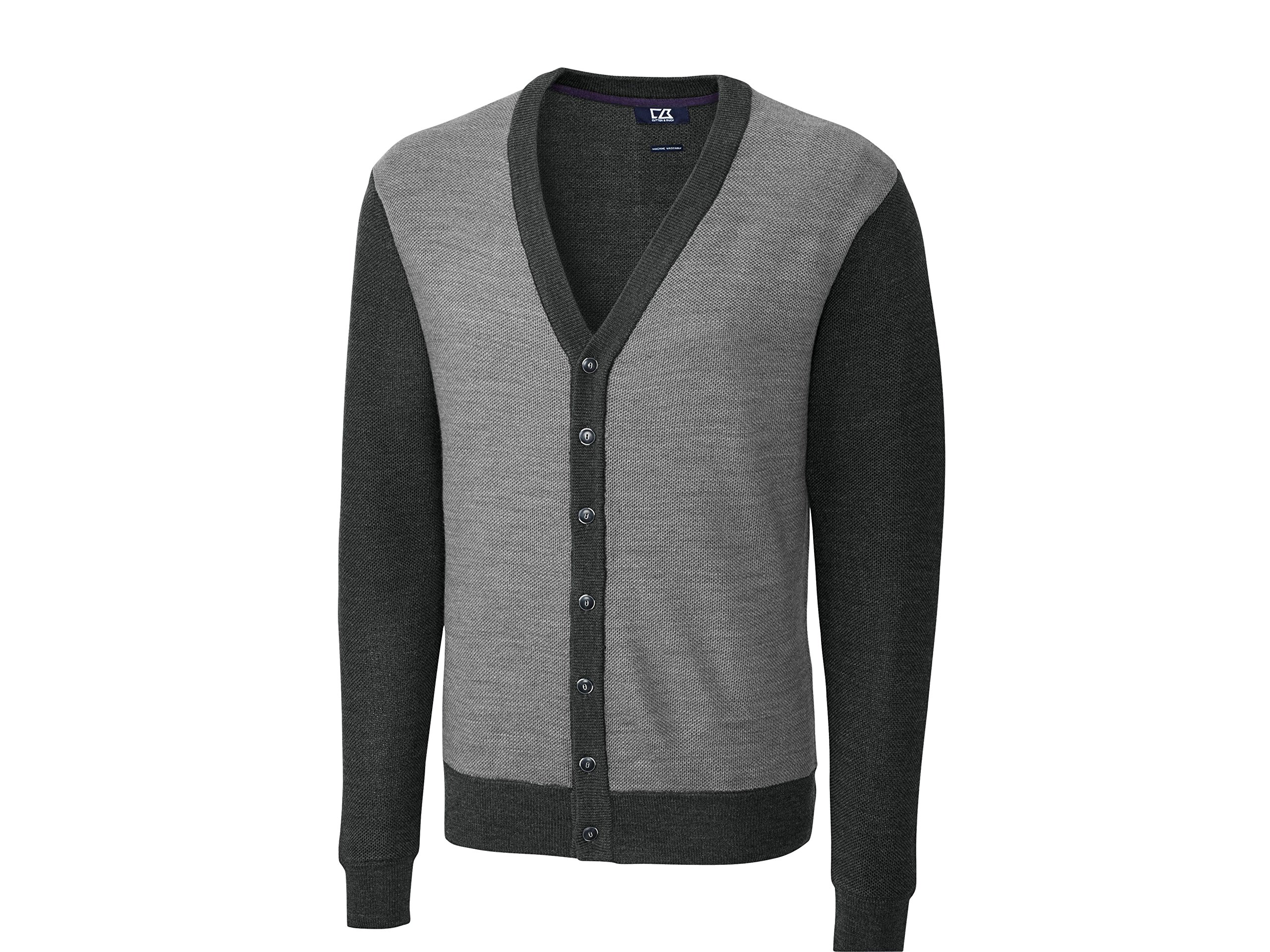 Cutter & Buck Men's Big-Tall Cornish Cardigan Sweater, Charcoal Heather, 3X/Big