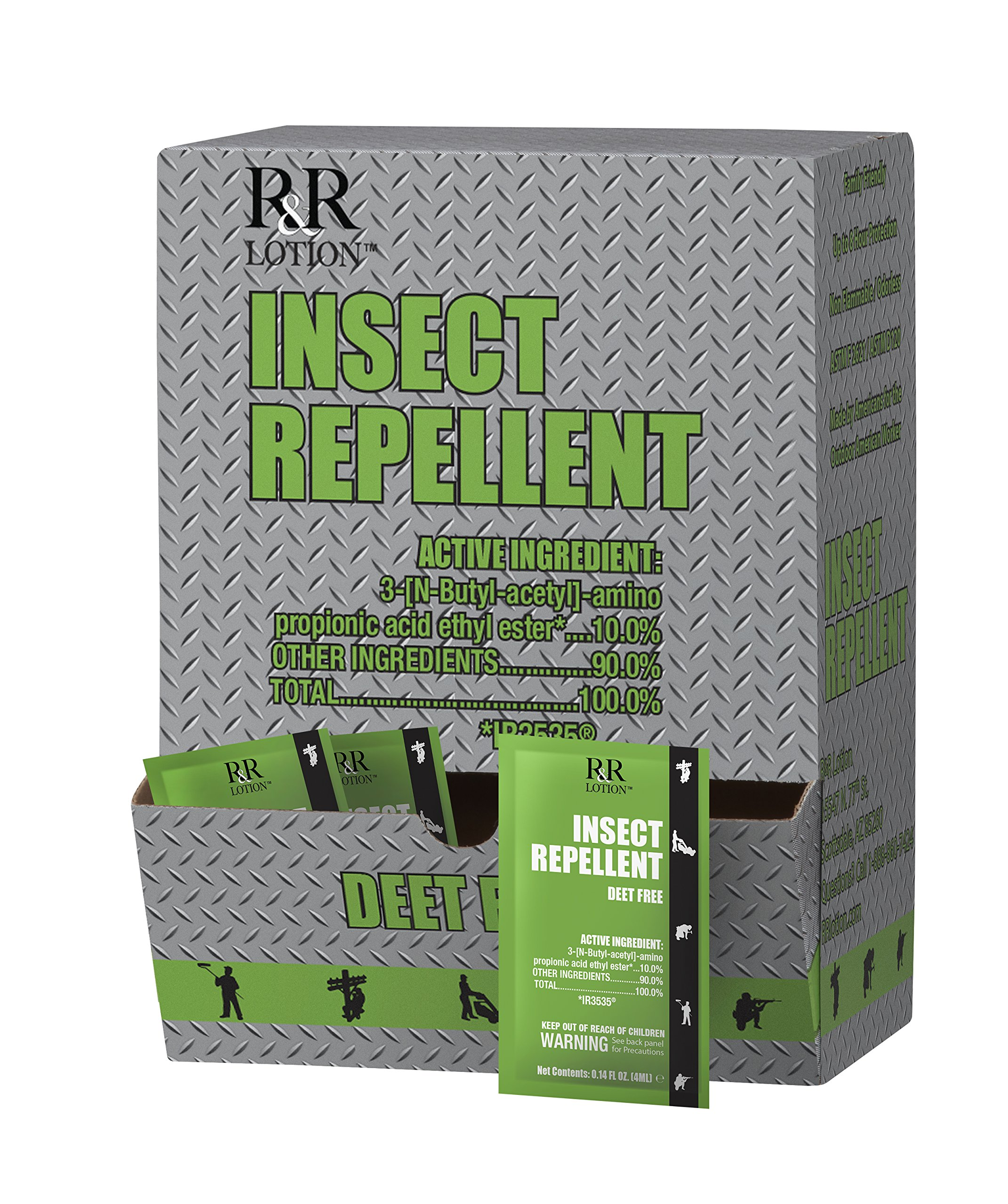 Insect Repellent Lotion Deet Free. Non-Greasy Non-Tacky Odorless 8 Hour Protection Safe for All Ages EPA Registered as a Biopesticide Using IR3535 Does not Kill, only Repels Insects Box of 200-4ML by R&R Lotion