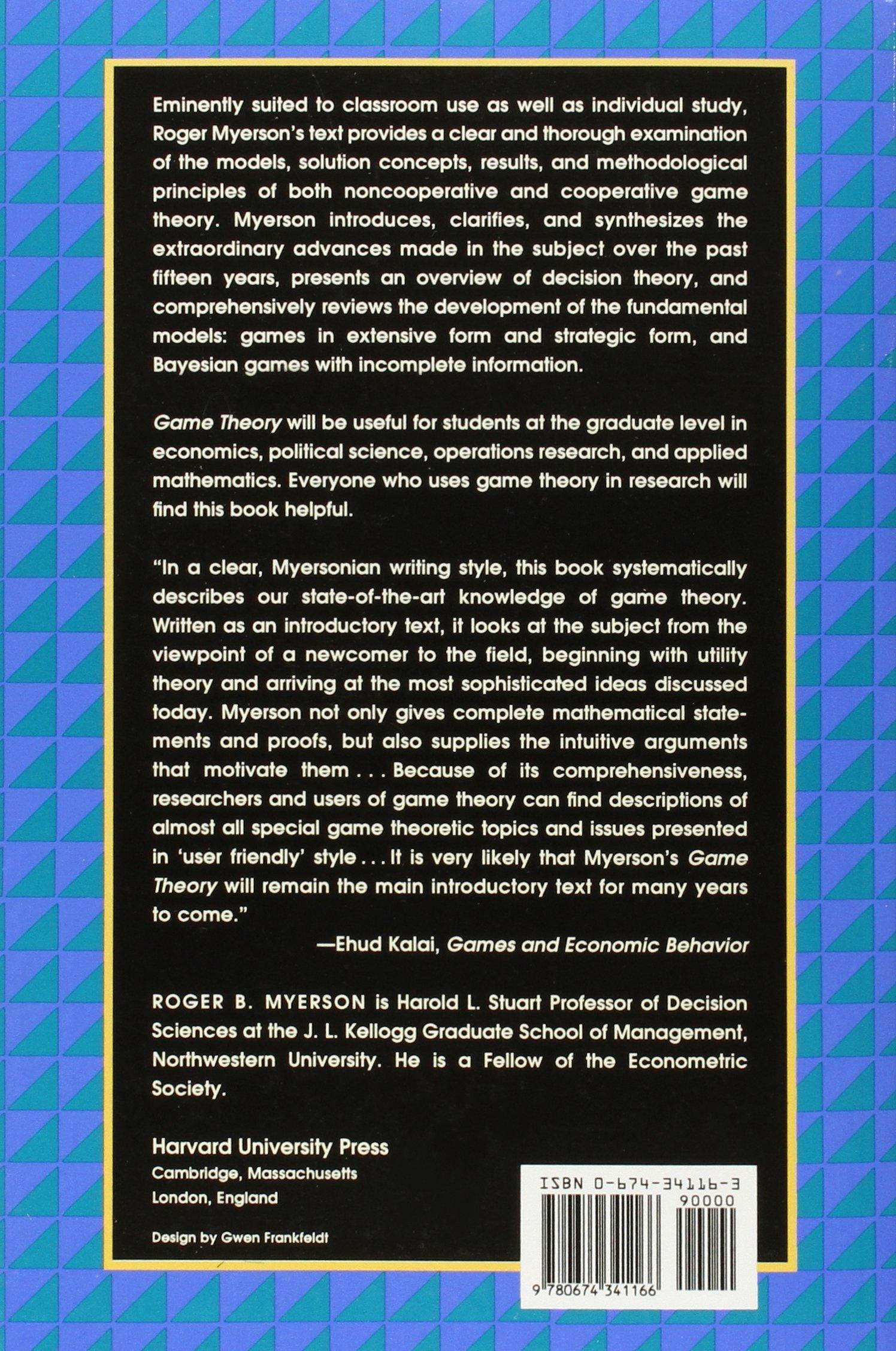 game theory analysis of conflict amazon de roger b myerson rh amazon de