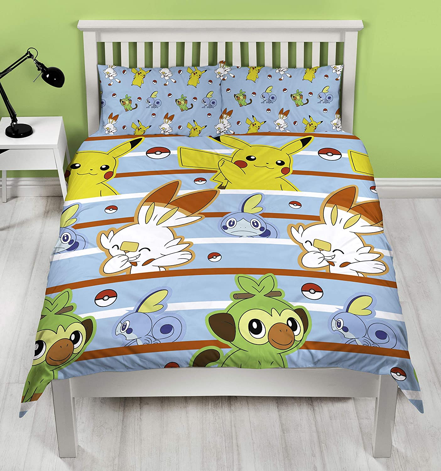 and Sobble Inc Officially Licensed Blue Polycotton Reversible Two Sided Design Grookey Pokemon Jump UK Single//US Twin Duvet Cover Featuring Pikachu Scorbunny