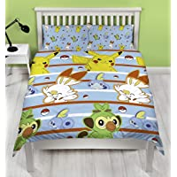 Pokemon Jump UK Double/UK Full Duvet Cover Featuring Pikachu, Grookey, Scorbunny, and Sobble Inc Officially Licensed Blue Polyester Reversible Two Sided Design