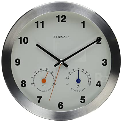 Superb DecoMates Non Ticking Silent Wall Clock With Built In Thermometer  Fahrenheit/Hygrometer,