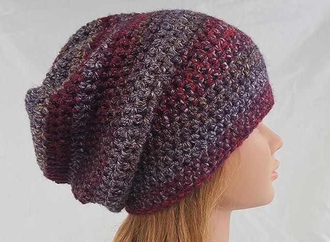 8b09f5b4ab0 Amazon.com  Women s Red Crochet Slouchy Beanie Hat  Handmade