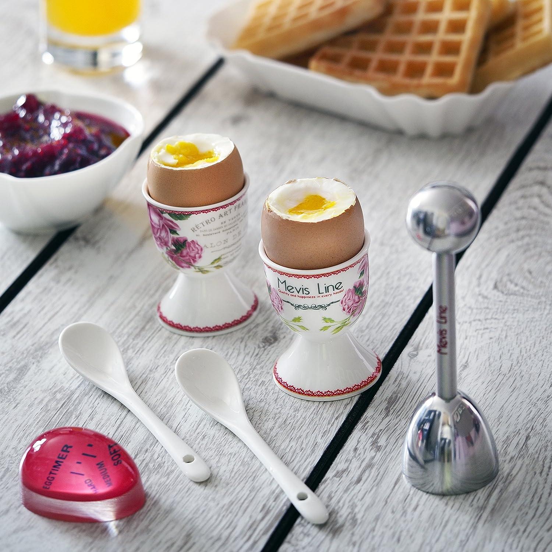 ... 2 soportes, 1 huevo Topper cortador, un hervir huevo temporizador, y 2 cucharas - fácil de usar y preciso - adecuado como familia regalos, mamá, ...