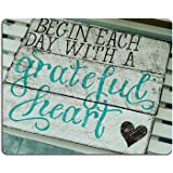 Wknoon Gaming Mouse Pad Custom, Begin Each Day with A Grateful Heart Quotes Rustic Turquoise Wood Design, Inspirational Bible