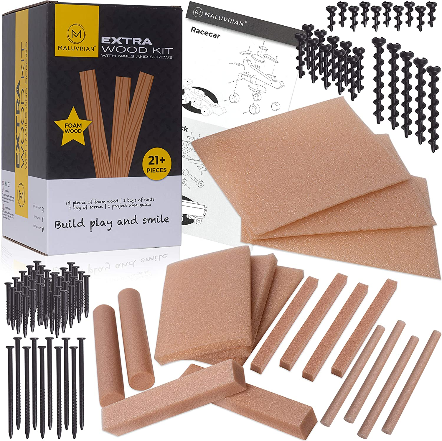 MALUVRIAN Arts and Craft Kit for Kids Extra Foam Wood Kit with 18 Pieces of Craft Foam Wood Screws and Nails Kids Tool Set Building Toys Educational Learning Toys STEAM STEM Toys for Boys and Girls