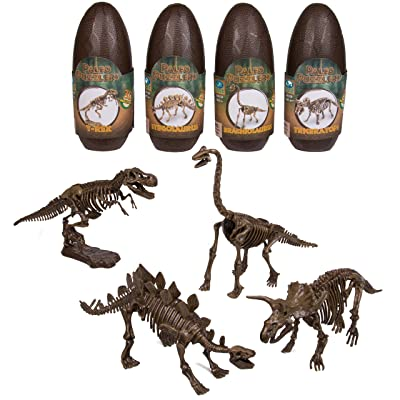 Dinosaur 3D Puzzle 1 Pack - 10'' Assorted Paleo Dino Skeleton (EA) - Open The Egg And Construct One Of 4 Different Dinosaurs: Toys & Games