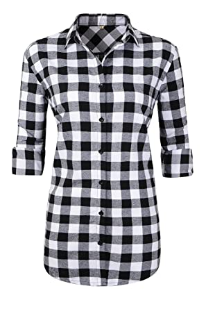 057eb4df Benibos Womens Long Sleeve Flannel Plaid Shirts at Amazon Women's ...