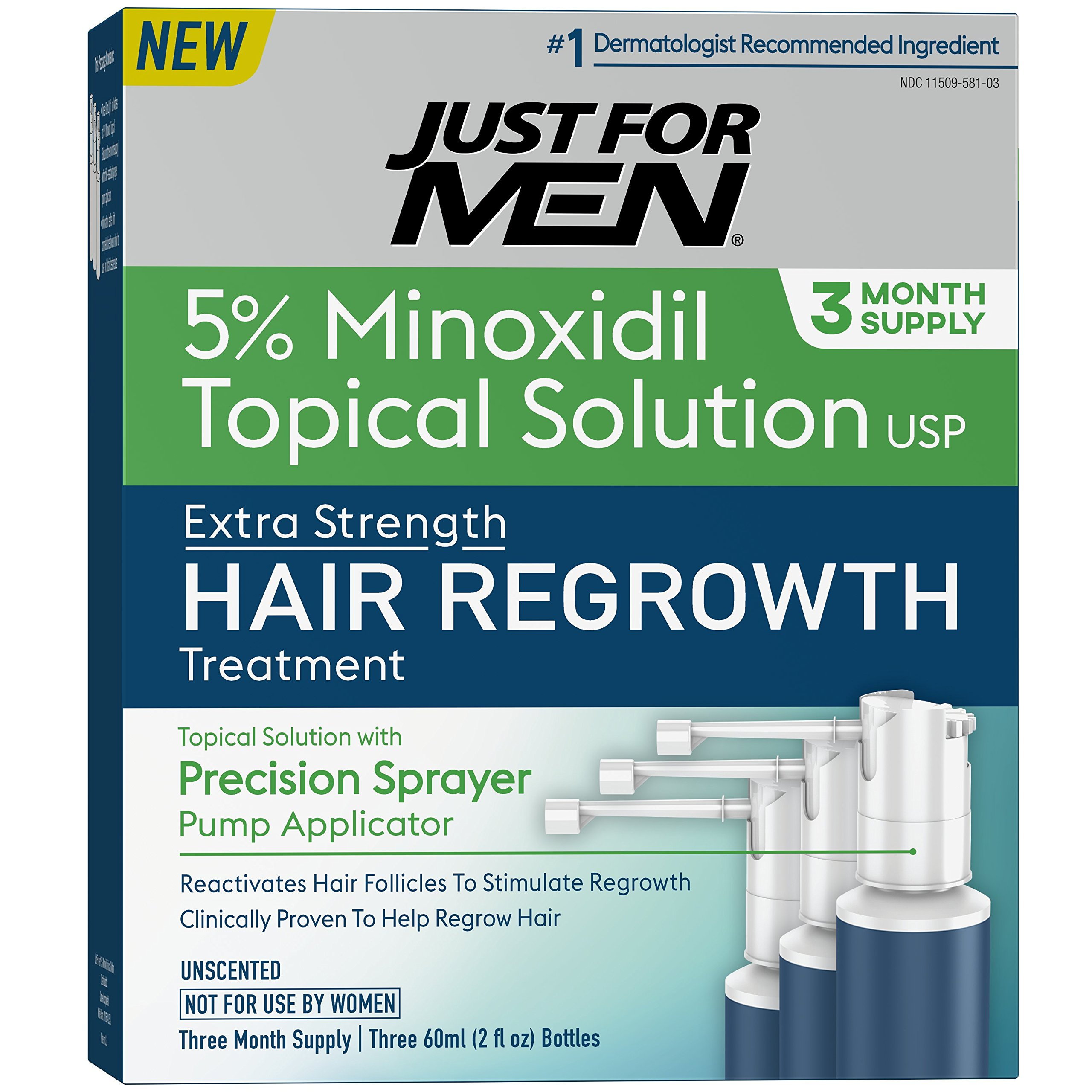Just for Men Minoxidil Extra Strength Hair Loss Regrowth Treatment with Precision Sprayer, 6 Ounces (3 Month Supply) by Just for Men