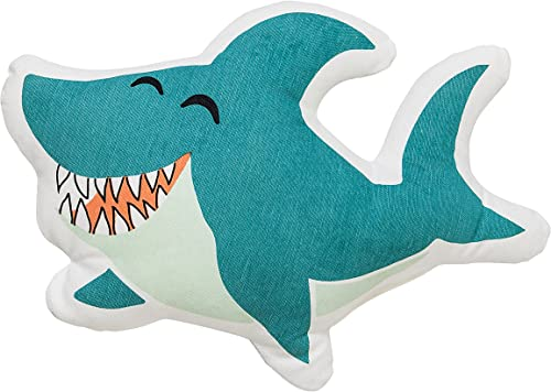 Bloomingville A95506267 White Blue Laughing Shark Shaped Pillow with Green White Striped Back