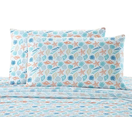 3f28f8ca76 Amazon.com: Seaside Resort Shells Sheet Set, King, Multi:White,Blue,Aqua,Coral,Gray,Tan:  Home & Kitchen
