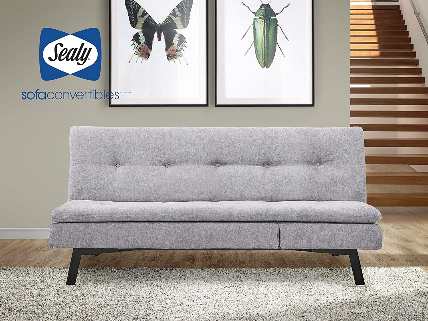 Sealy Savannah Transitional Convertible Chaise Sofa in Gray