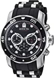 Invicta Men's Quartz Watch with Black Dial Chronograph Display and Black PU Strap 6977