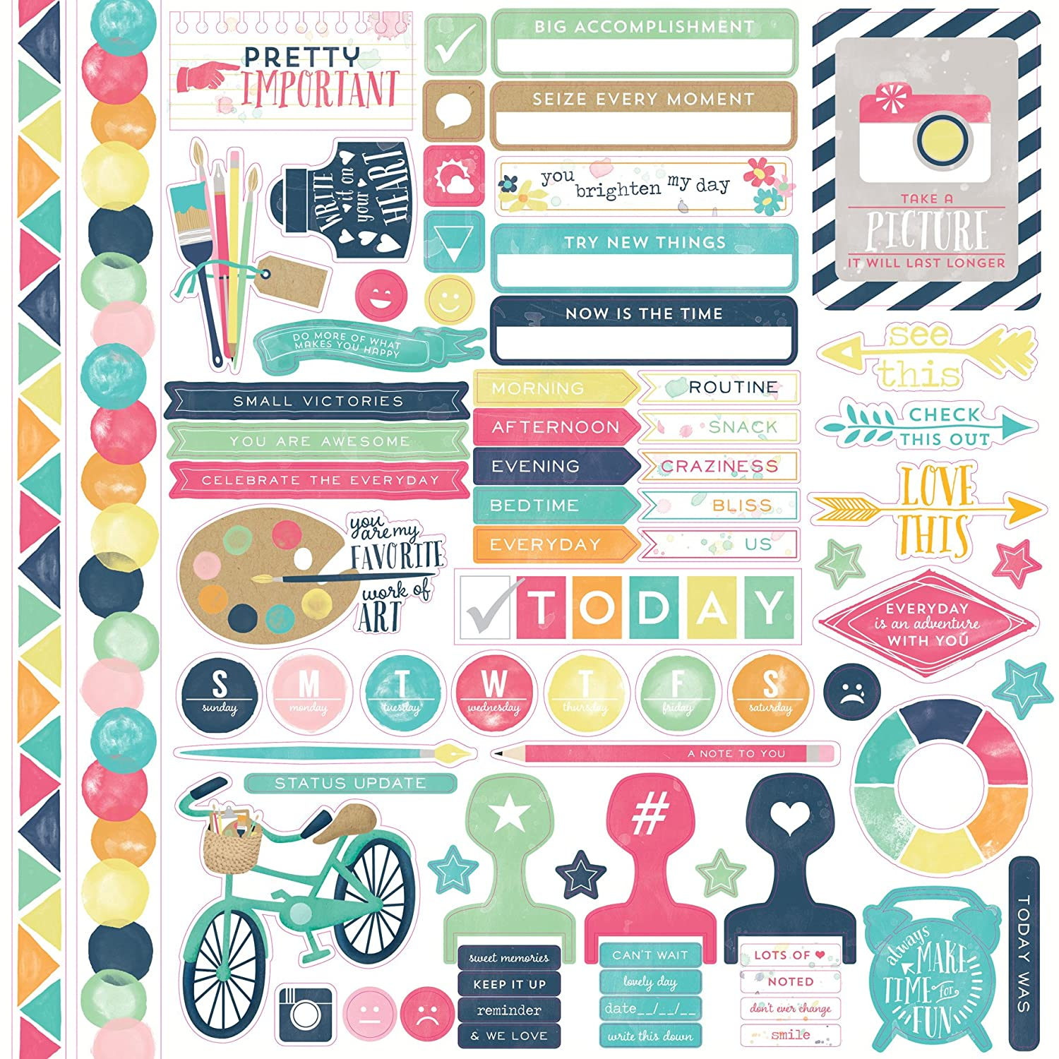 Echo Park Paper CASTK-70014 Creative Agenda Element Cardstock Stickers, 12