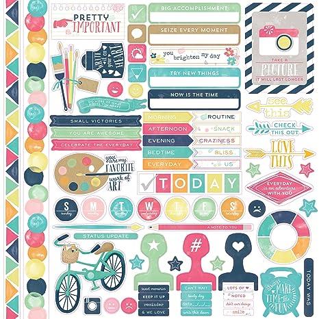 Echo Park Paper Creativas Pegatinas en cartulina, Pegar en la Agenda, cartulina de 12