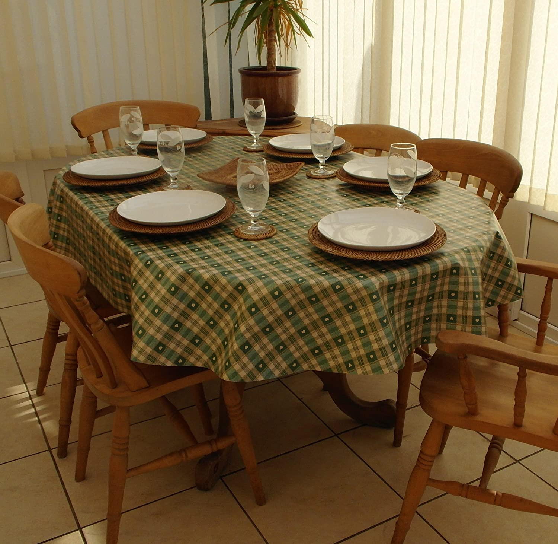 140x200cm OVAL PVC/VINYL TABLECLOTH   GREEN U0026 CREAM CHECK WITH HEARTS:  Amazon.co.uk: Kitchen U0026 Home