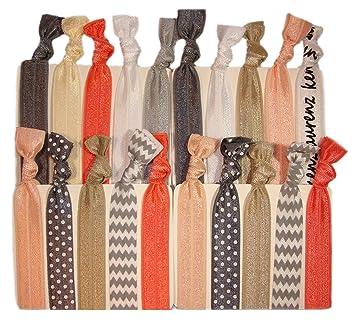 Amazon.com   Kenz Laurenz Silver Peach Chevron Hair Ties Holders (20-Pack)    Beauty 276b41d9067