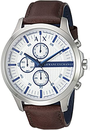 1fe7f2b9f Buy Armani Exchange Men s  Smart  Quartz Stainless Steel and Leather Casual  Watch