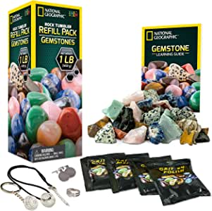 NATIONAL GEOGRAPHIC Rock Tumbler Refill Kit - Gemstone Mix of 9 varieties including Tiger's Eye, Amethyst and Quartz - Comes with 4 grades of Grit, Jewelry Fastenings and detailed Learning Guide