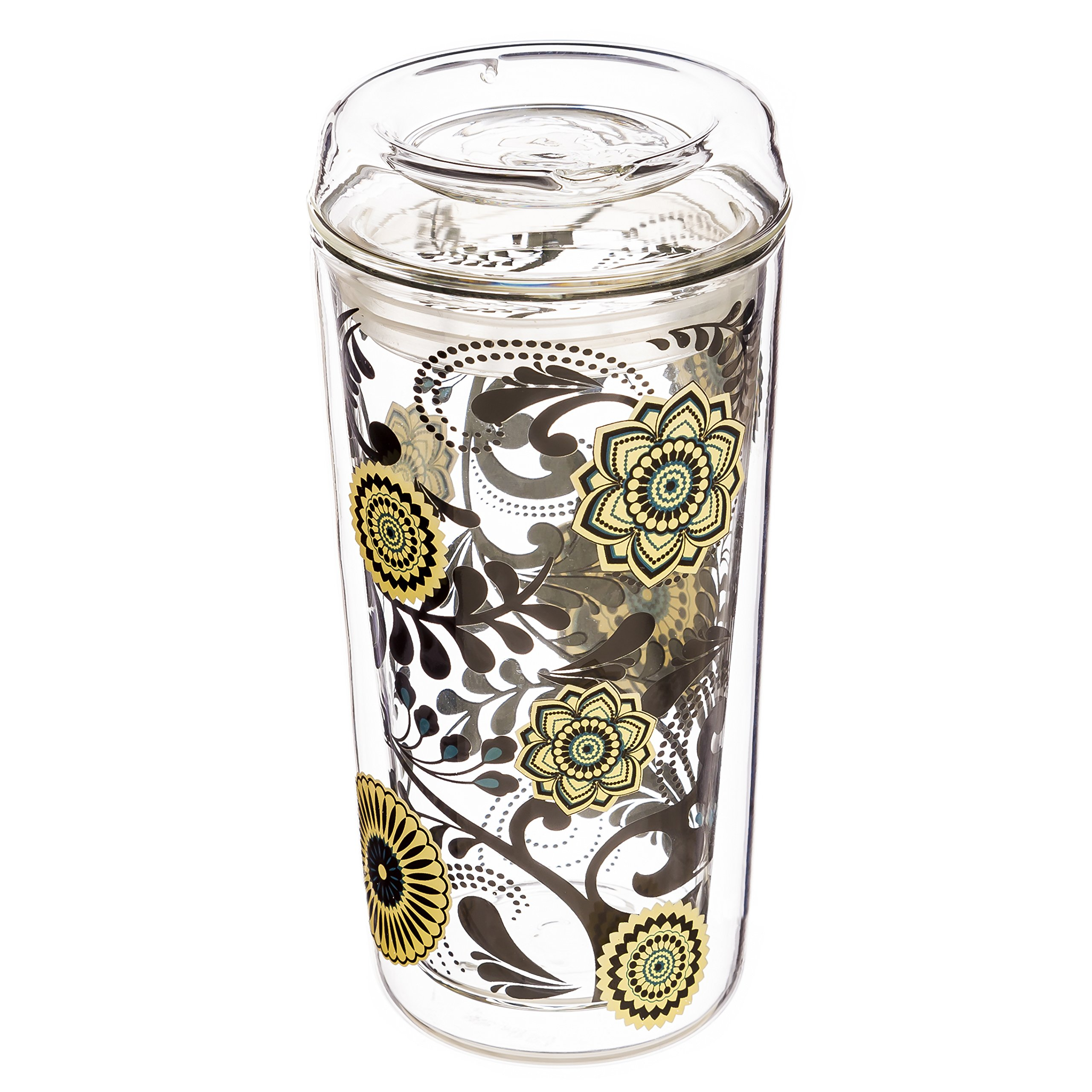 Cypress Home Dark and Stormy Double Wall Glass Travel Coffee Cup with Lid