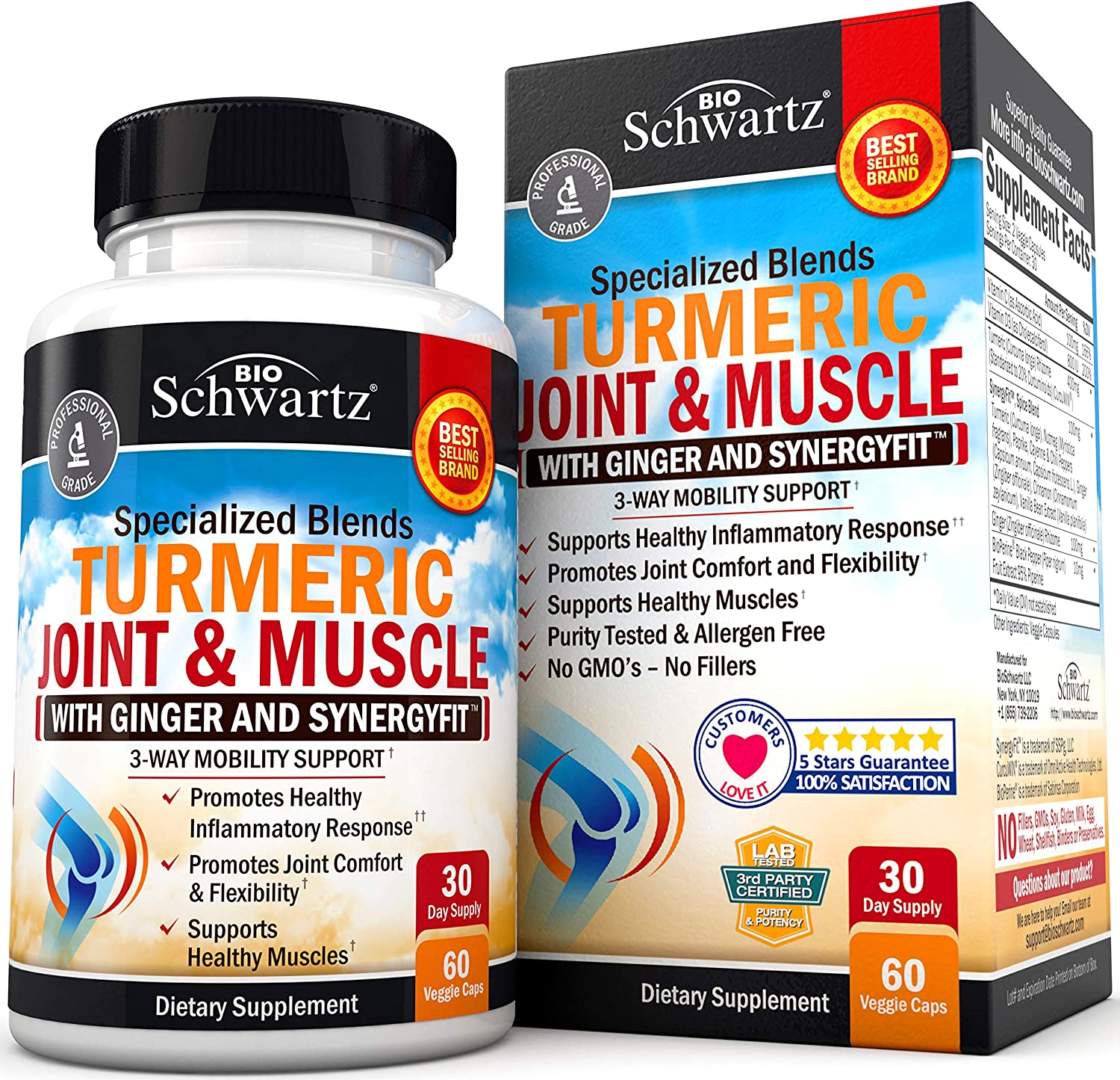 Turmeric Curcumin & Ginger Capsules for Joint Support & Back Pain Relief - Anti Inflammatory Supplement for Muscle Flexibility & Knee Health with BioPerine Black Pepper for Better Absorption
