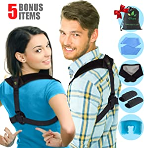 Posture Corrector for Women and Men - Upper Back and Neck Support for Natural Pain Relief - Adjustable Straightener Posture Back Brace For Clavicle Support, Back and Shoulder. 5 Extra Gifts by Clips.