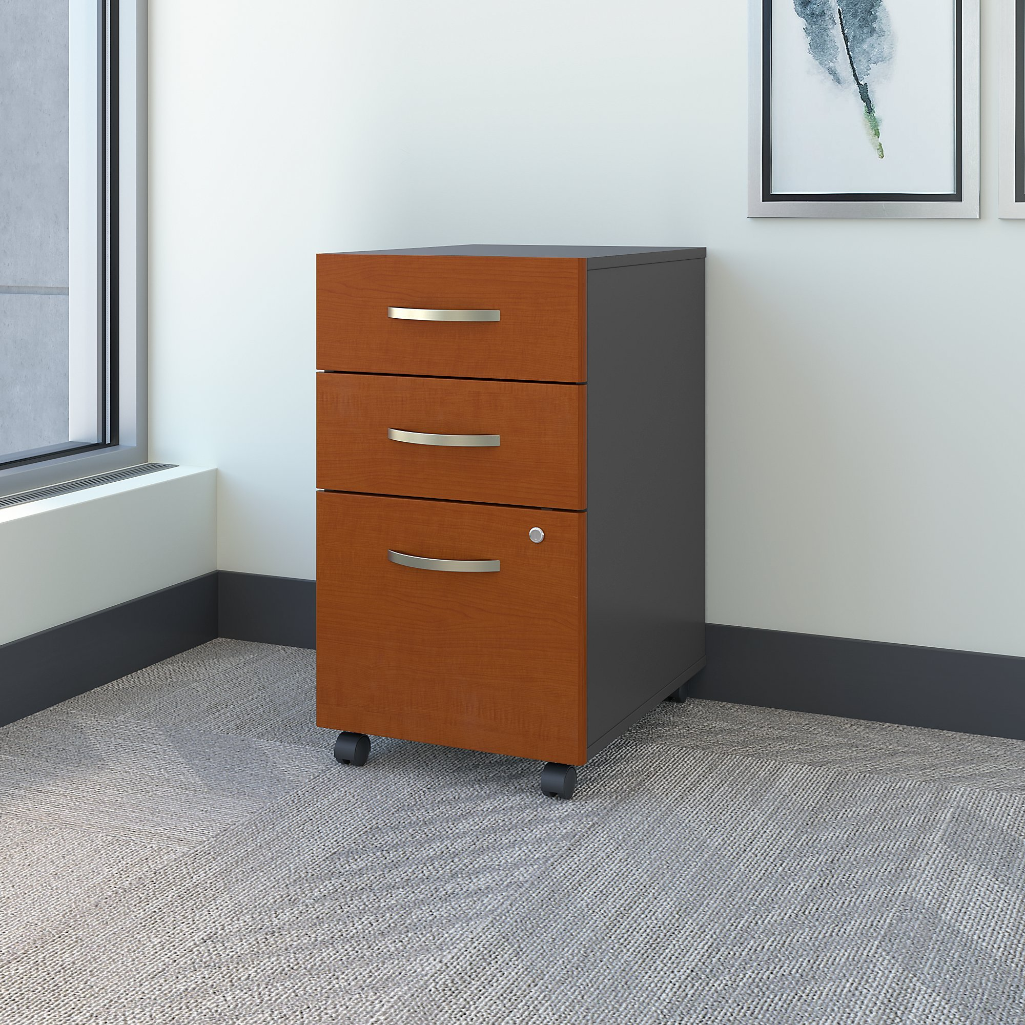 Bush Business Furniture Series C 3 Drawer Mobile File Cabinet in Auburn Maple by Bush Business Furniture