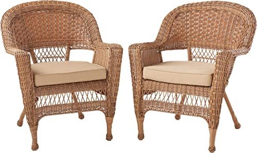 Jeco Wicker Chair with Tan Cushion, Set of 2, Honey W00205-