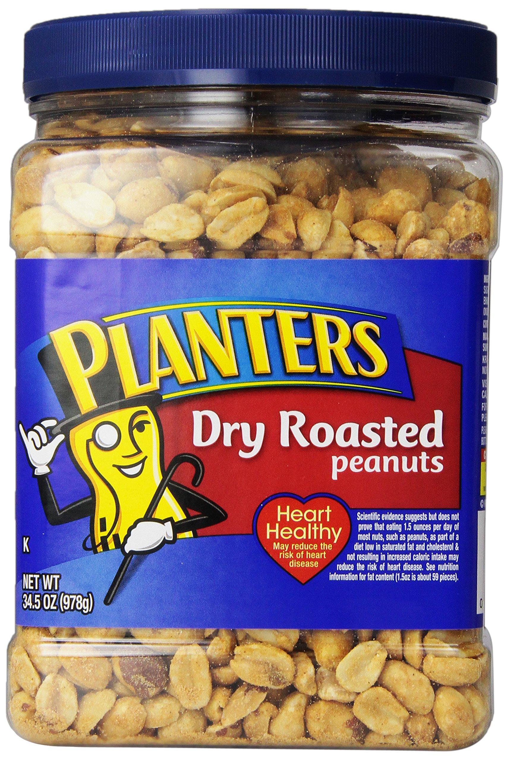 Planters Dry Roasted Peanuts, Dry Roasted, Sea Salt, 34.5 Ounce (Pack of 6)