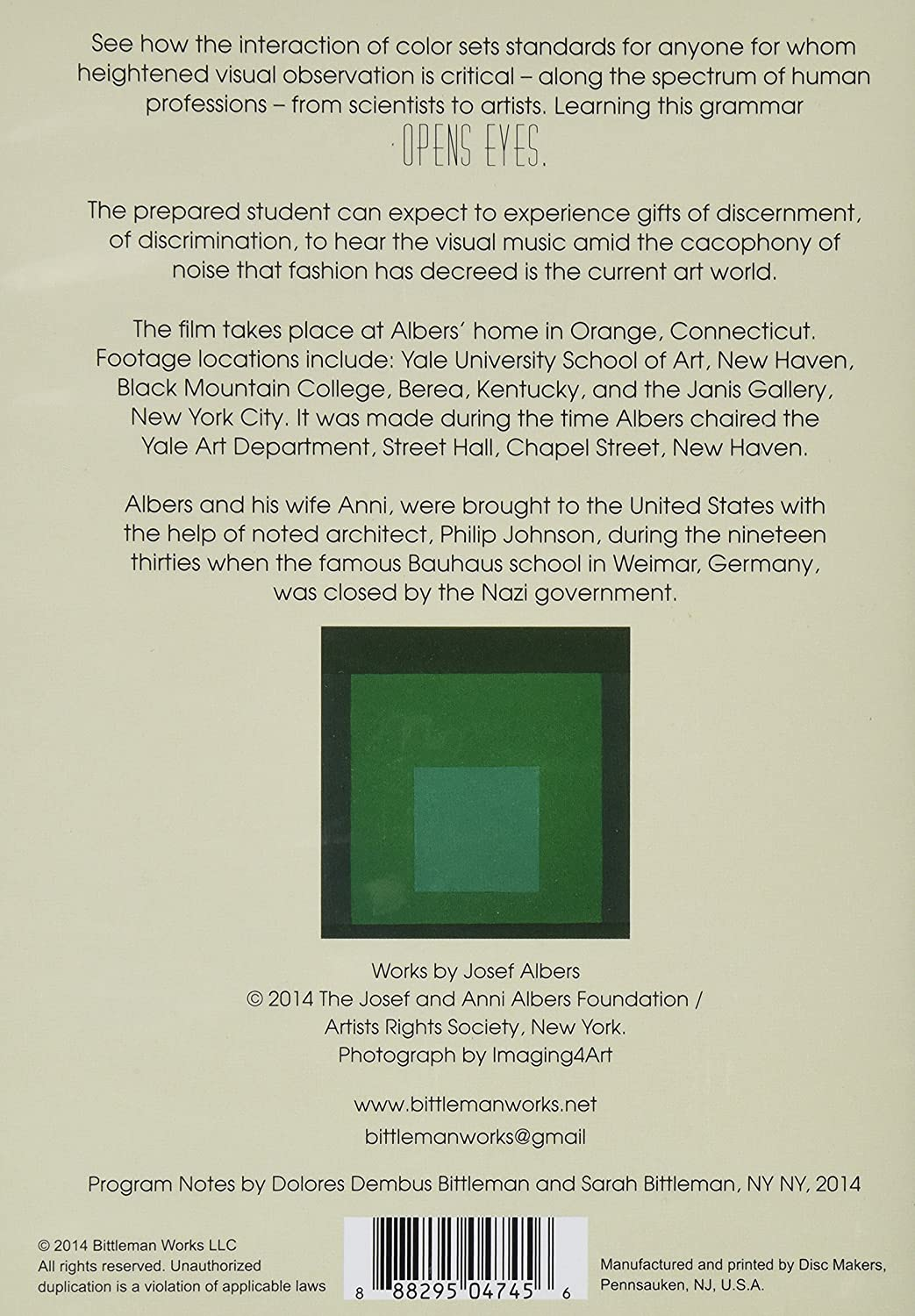 Amazon.com: Albers, Bauhaus Icon, demonstrates how color is relative ...