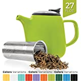 Tealyra - Daze Ceramic Teapot in Lime - 27-ounce (2-3 cups) - Small Stylish Ceramic Teapot with Stainless Steel Lid and Extra-Fine Infuser To Brew Loose Leaf Tea