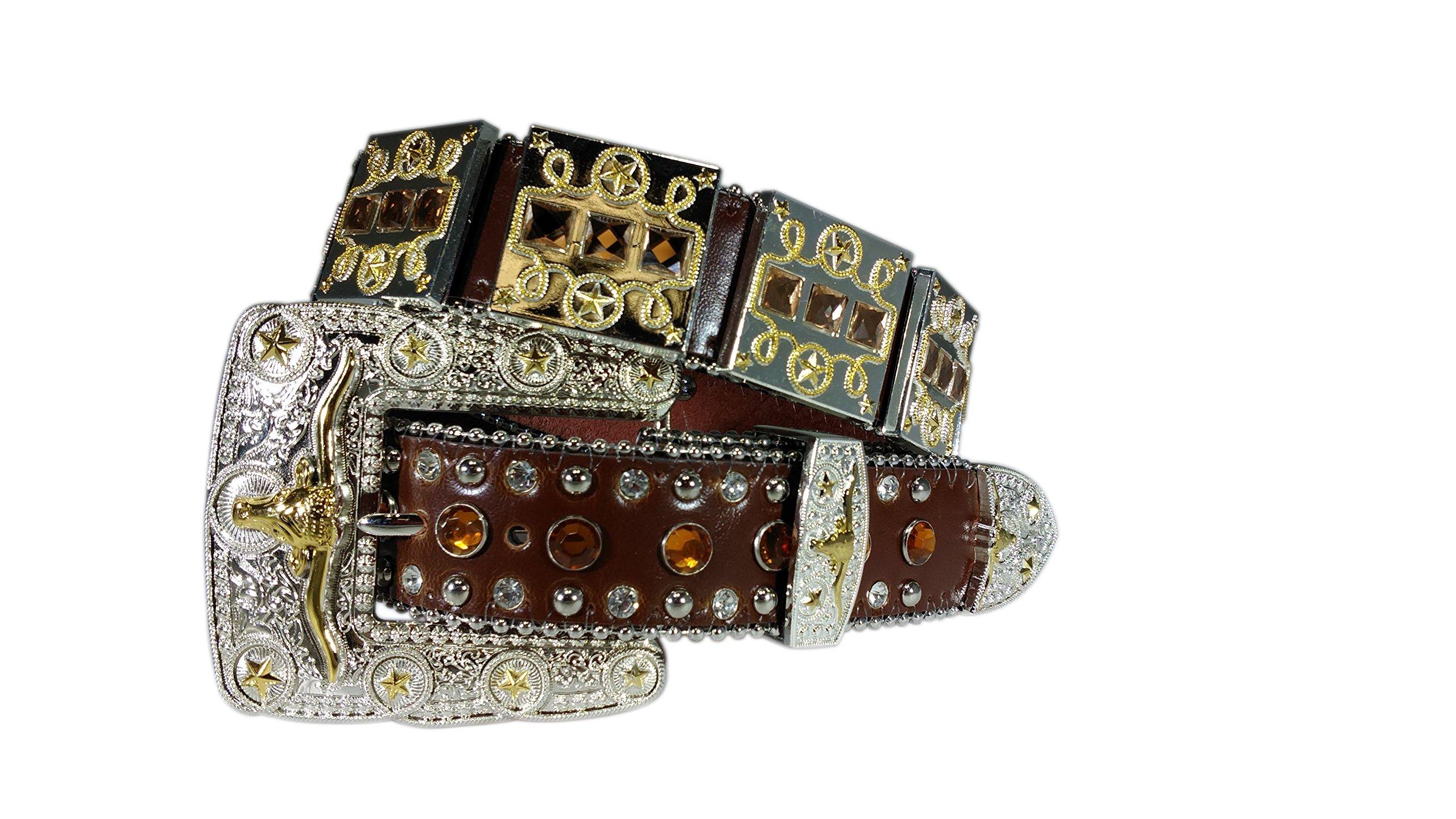 Western Cowboy Cowgirl Silver Plated studded Glass Rhinestone Leather Belt Belts
