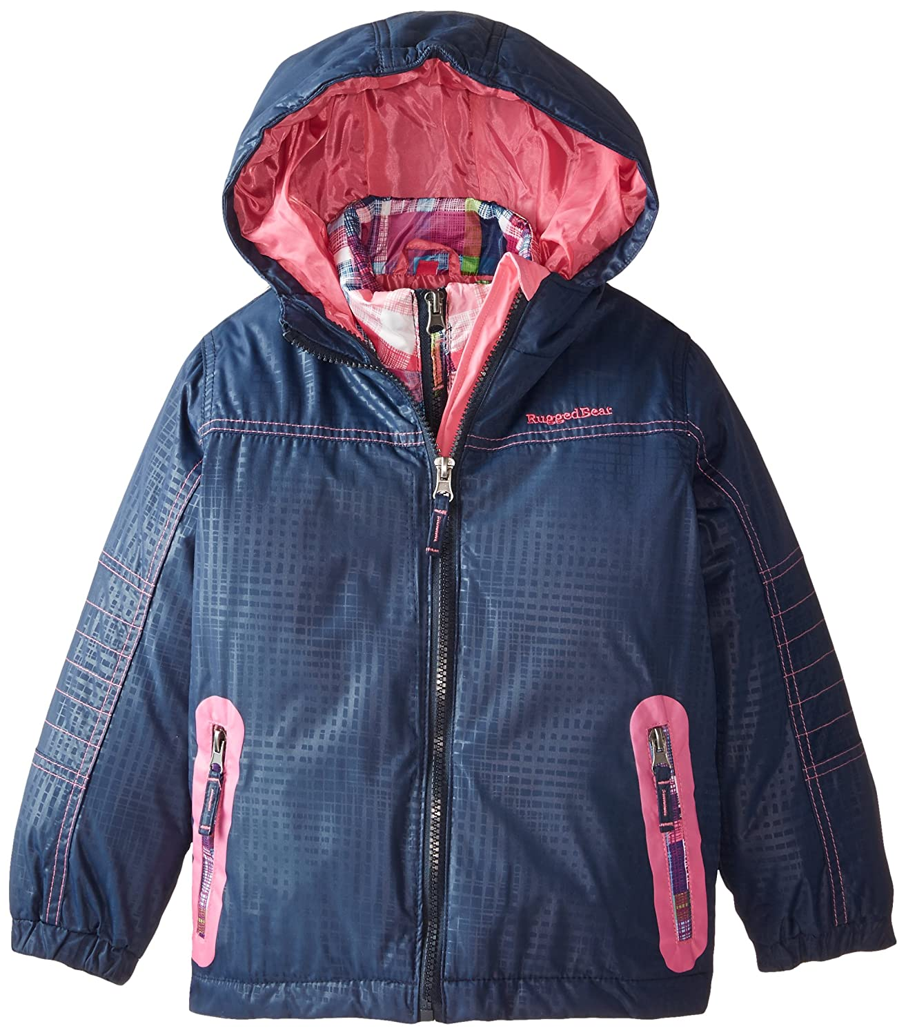 Rugged Bear Girls' Systems Coat with Plaid Jacket Rugged Bear Girls 2-6x RG84000