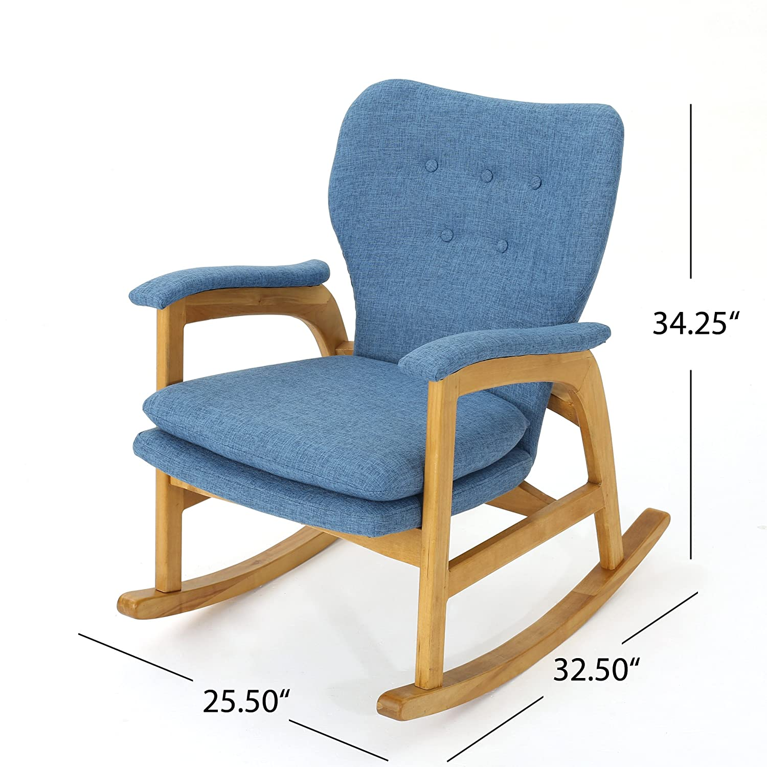 Christopher Knight Home Bethany Mid Century Fabric Rocking Chair Muted Blue