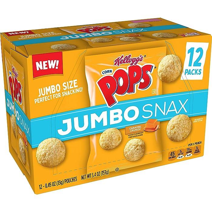 Kellogg's Corn Pops Jumbo Snax, Cereal Snacks, Caramel Crunch, On the Go, 5.4oz Box (12 Count)