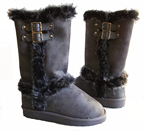 9a2d0f48cc3 Qupid Top Moda Faux Fur Lined Mid-calf Boots with Buckles for Women (