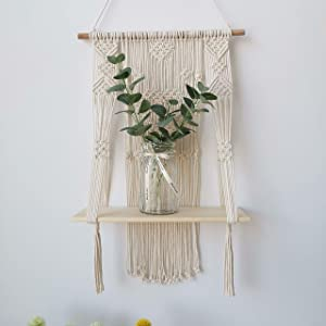 Macrame Wall Hanging Shelf, Wood Floating Hanging Storage Shelf Bohomian Wall Decor (Heart)