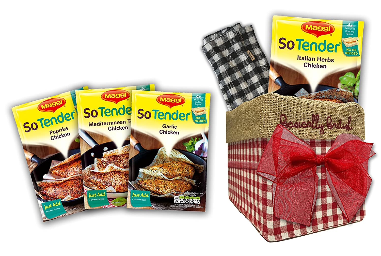 Maggi So Tender British Food variety by The Yummy Palette   Maggi So Tender Paprika Maggi So Tender Italian Herbs in Traditional Basically Britsh Hand Embroidered Box