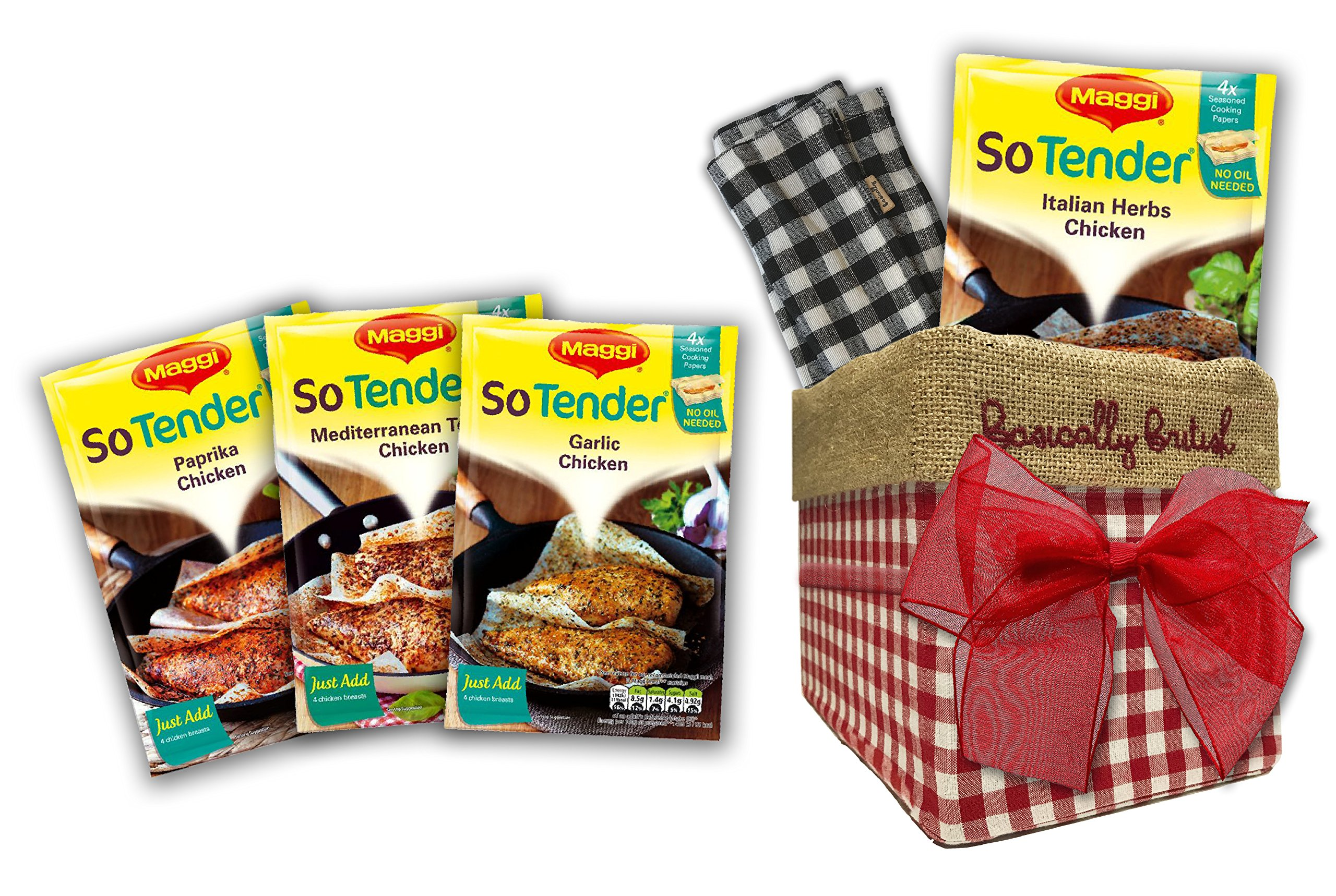 Maggi So Tender British Food variety by The Yummy Palette | Maggi So Tender Paprika Maggi So Tender Italian Herbs in Traditional Basically Britsh Hand Embroidered Box by The Yummy Palette