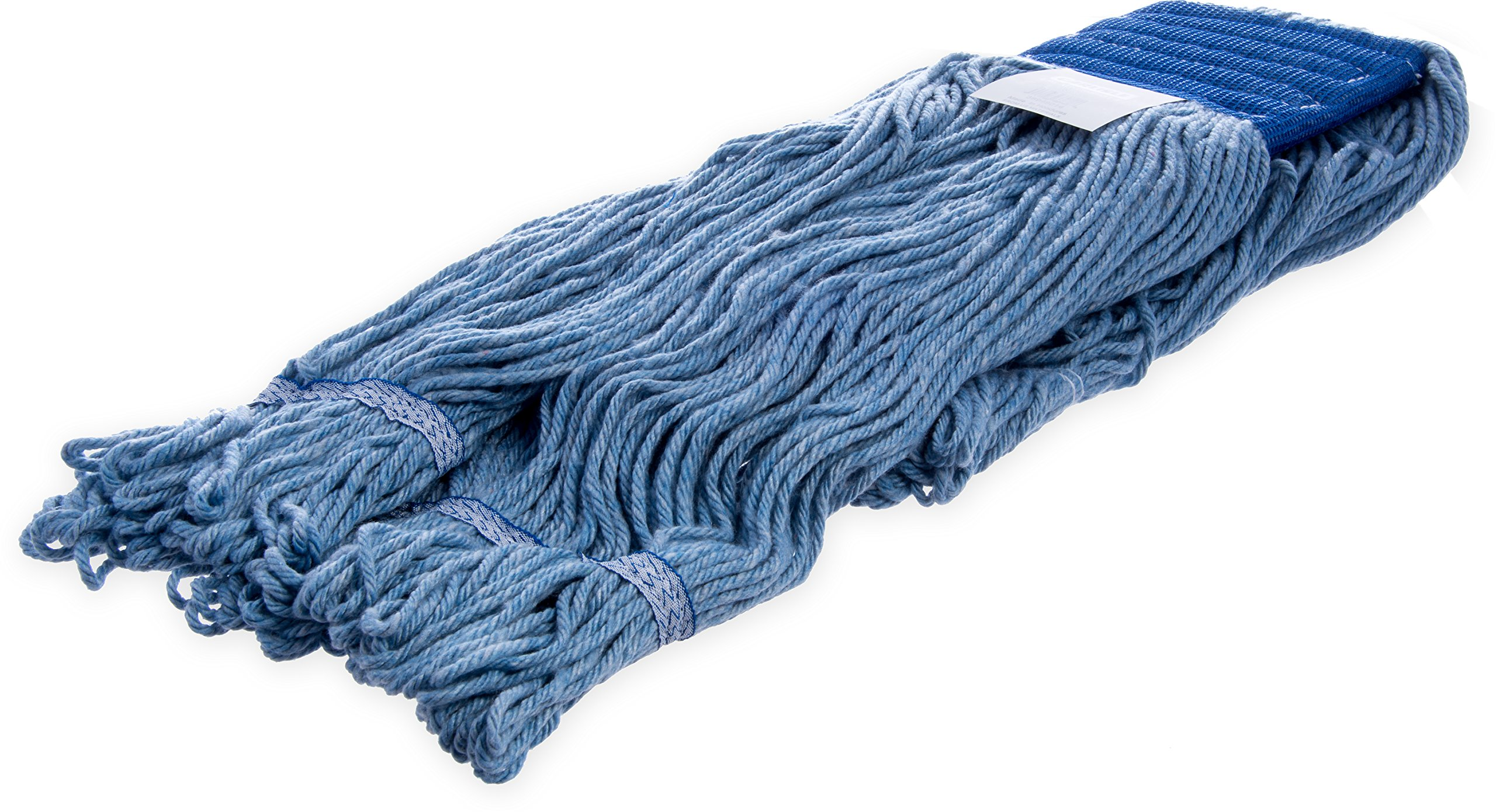 Carlisle 36946014 Looped-End Premium Mop Head With Blue Band, X-Large, Blue