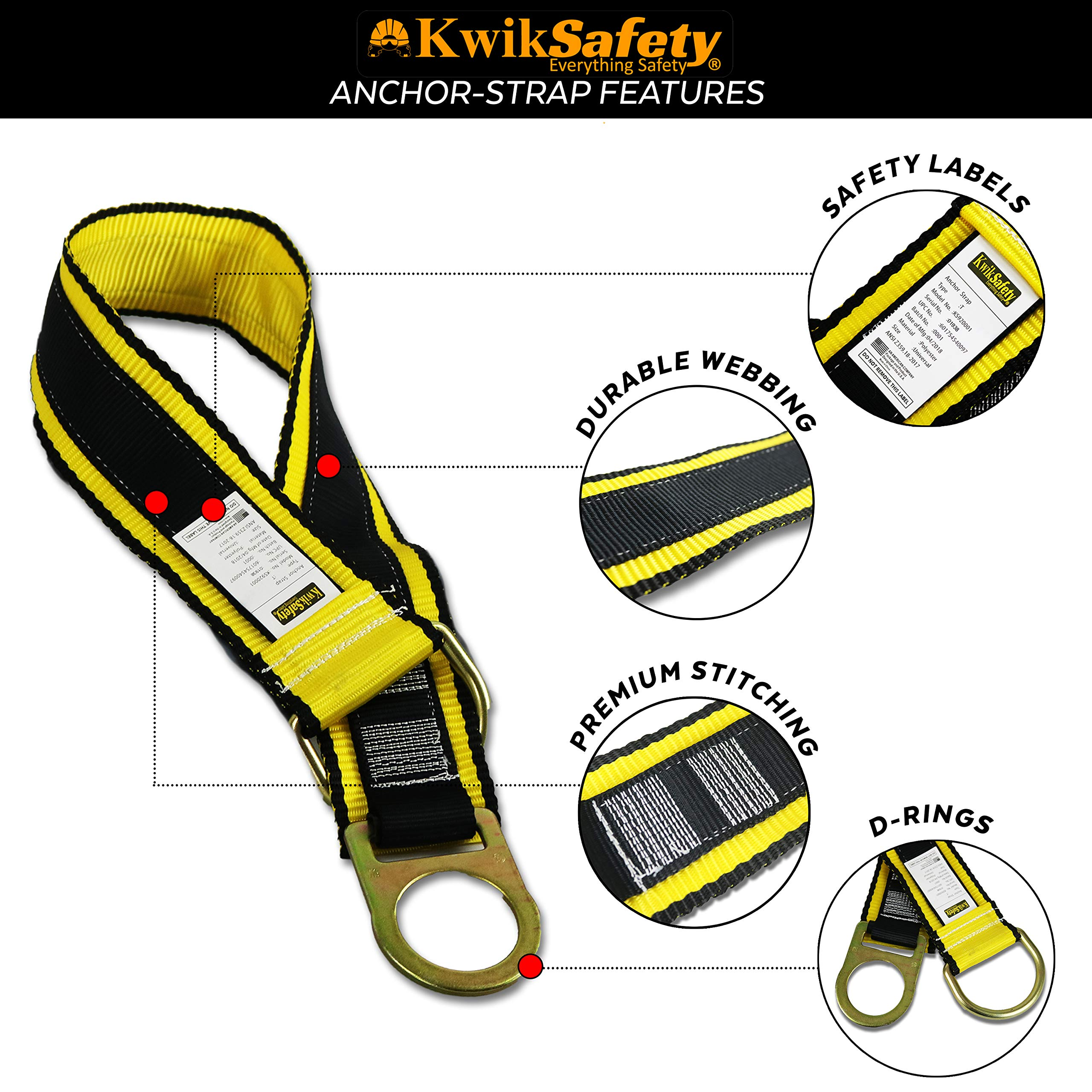 KwikSafety (Charlotte, NC) THUNDER KIT | 3D Full Body Safety Harness, 6' Lanyard, Tool Lanyard, 3' Cross Arm Strap Anchor ANSI OSHA PPE Fall Protection Arrest Restraint Construction Roofing Bucket by KwikSafety (Image #7)