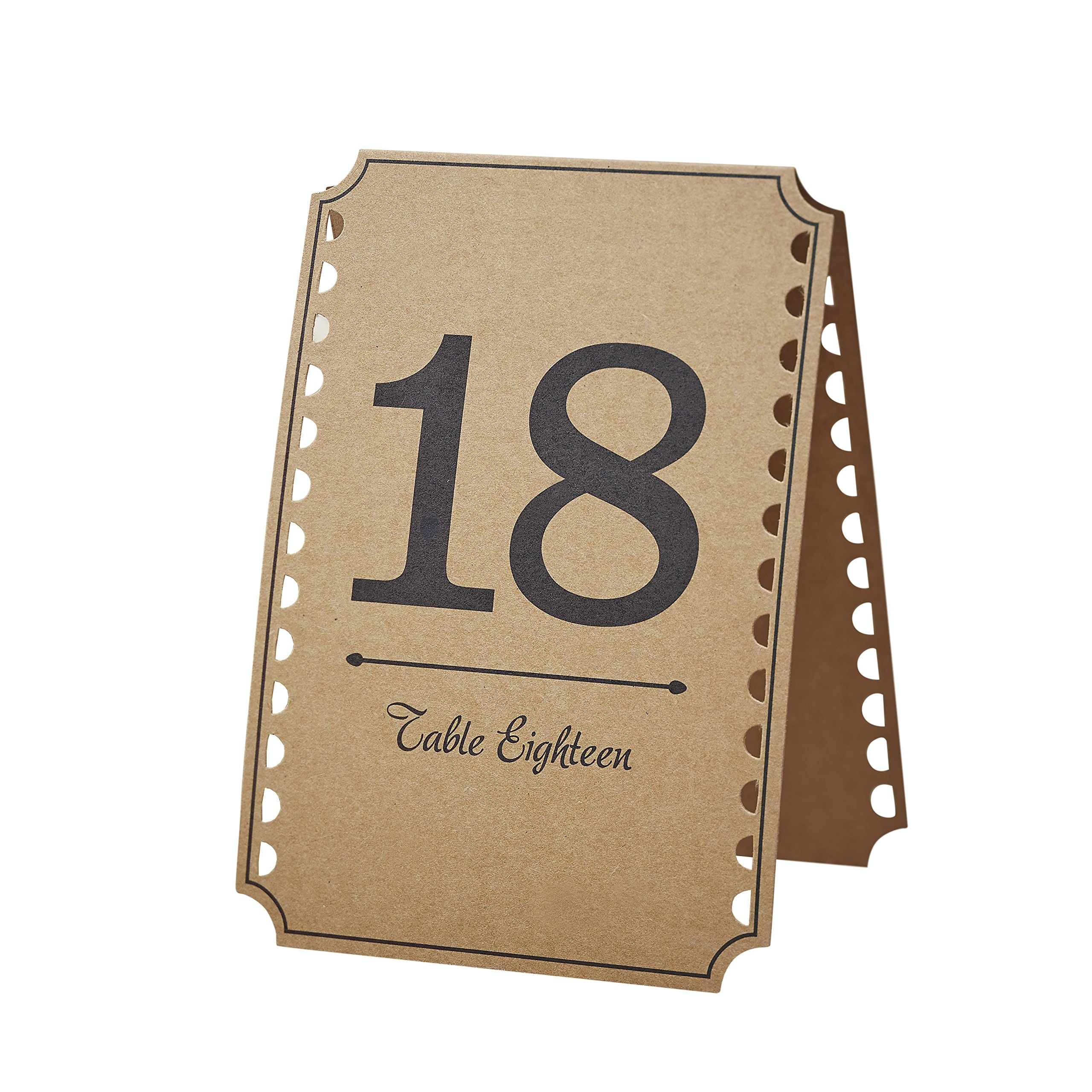 Ginger Ray Vintage Affair Kraft Wedding Party Table Numbers 13-24, Brown