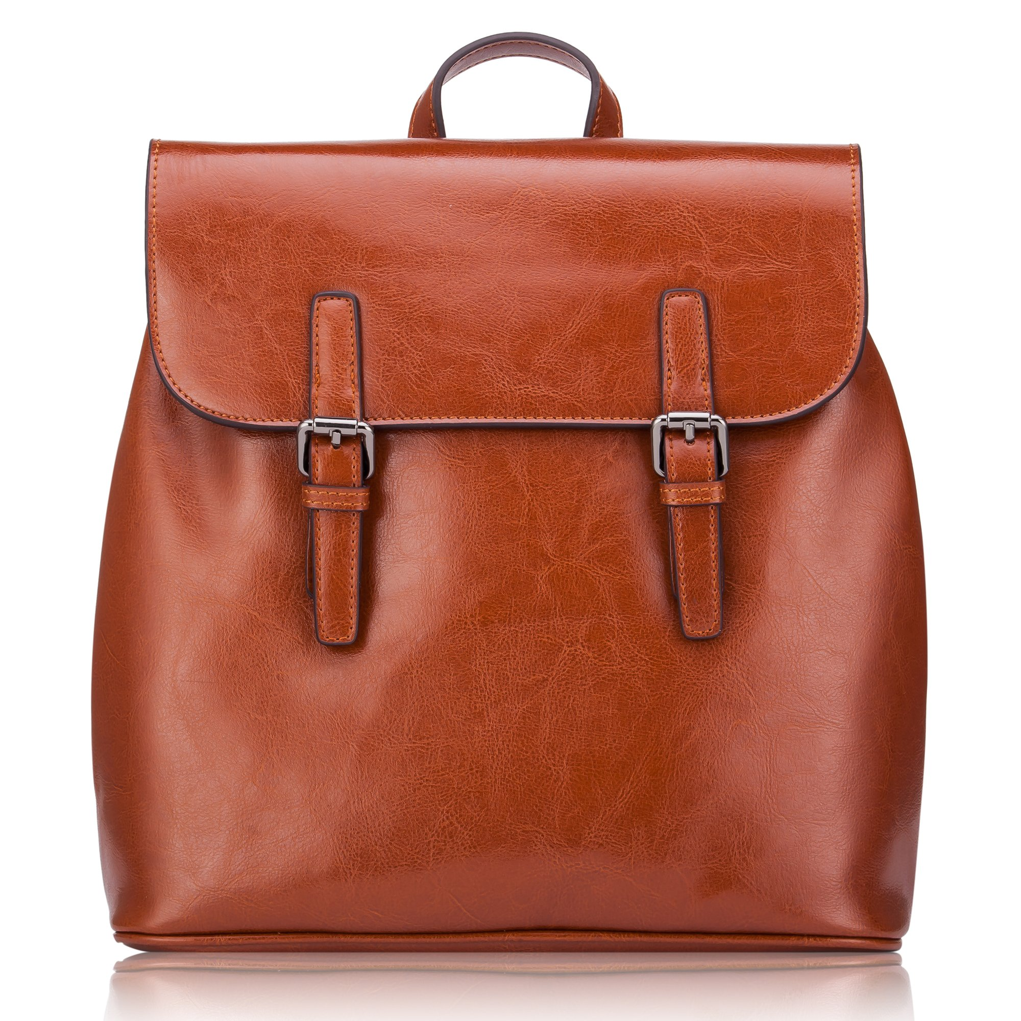 Women' s Genuine Leather Small Backpack School Bag Travelling Bag Made of Oiled Cow Leather With Vintage Design