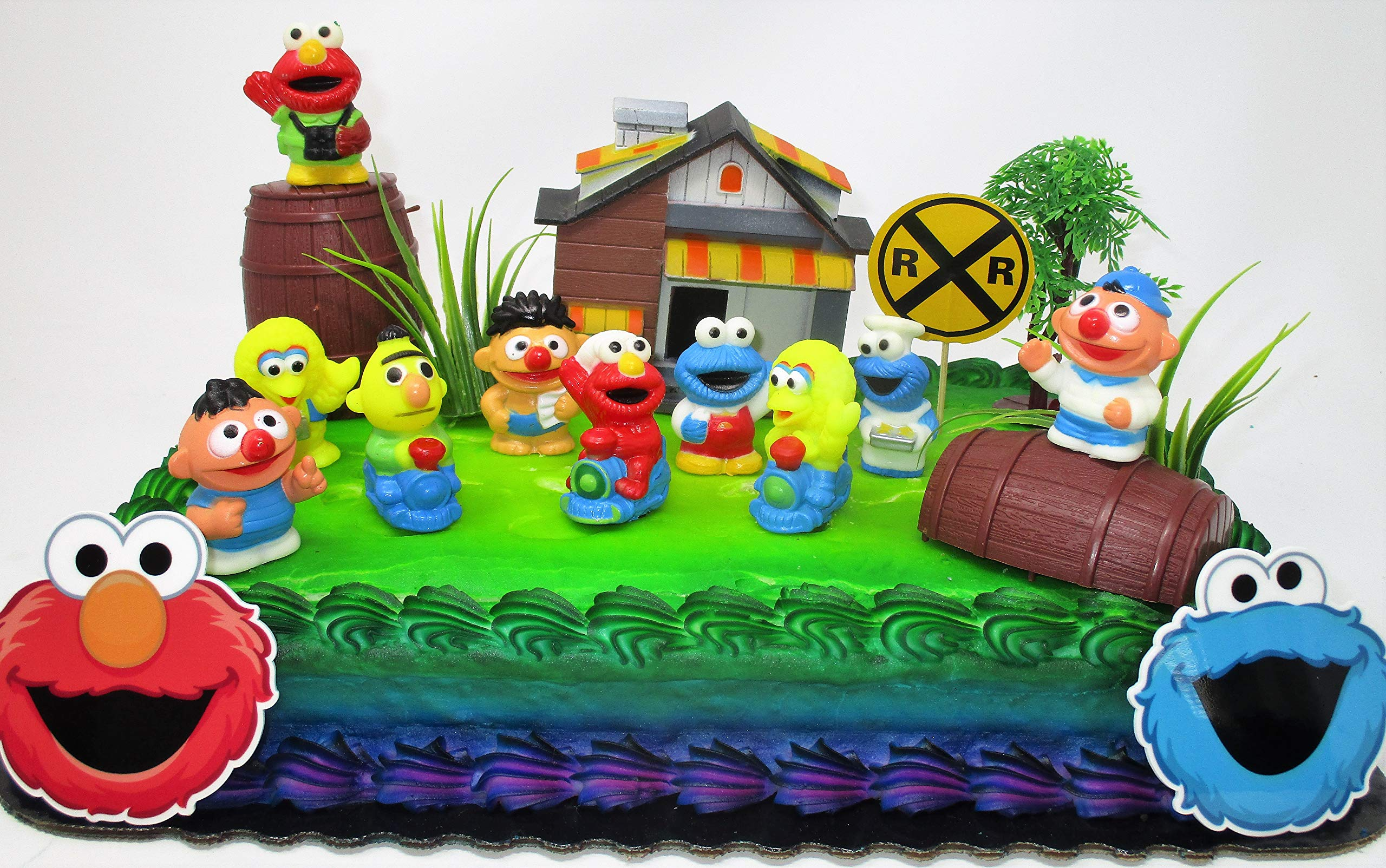 Kids Classic Cake Topper Set Featuring Big Bird, Elmo, Cookie Monster and Friends by Cake Topper