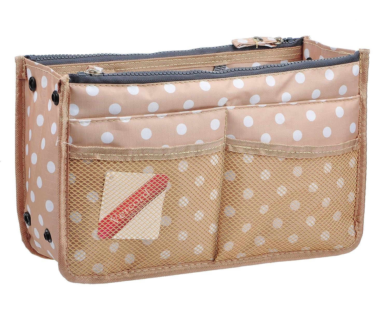 Beige Dot Vercord Updated Purse Handbag Organizer Insert Liner Bag in Bag 13 Pockets 3 Size