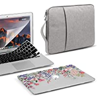 GMYLE 4 in 1 MacBook Air 13 Inch A1369/A1466 (2008-2017 Release) Bundle, Hard Clear Case, Grey Carrying Sleeve Bag with Handle, Keyboard Cover & Screen Protector - Pink Plum Blossom Floral Garden Set
