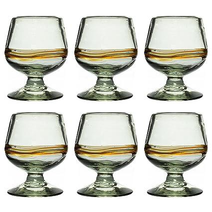 Vaso de Brandy/Cognac Artesanal – Vidrio Reciclado – Raya multicolor - Juego de 6
