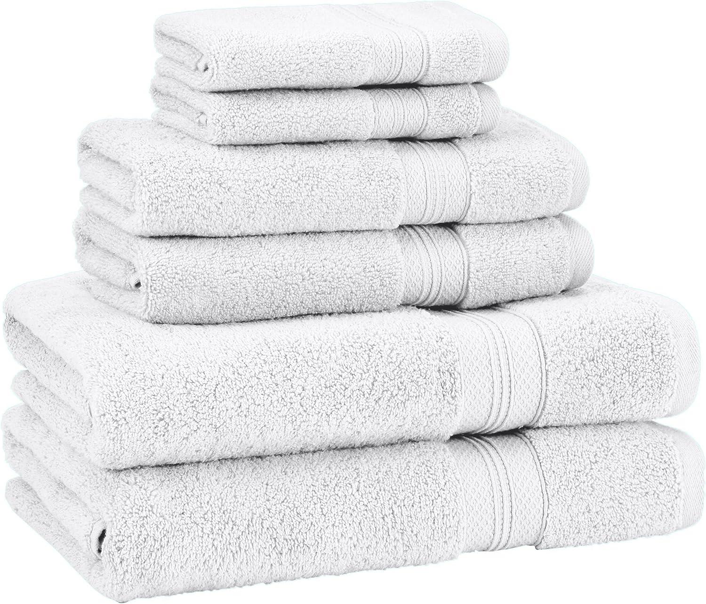 Amazon Com Amazon Brand Pinzon 6 Piece Pima Cotton Bath Towel Set White Home Kitchen