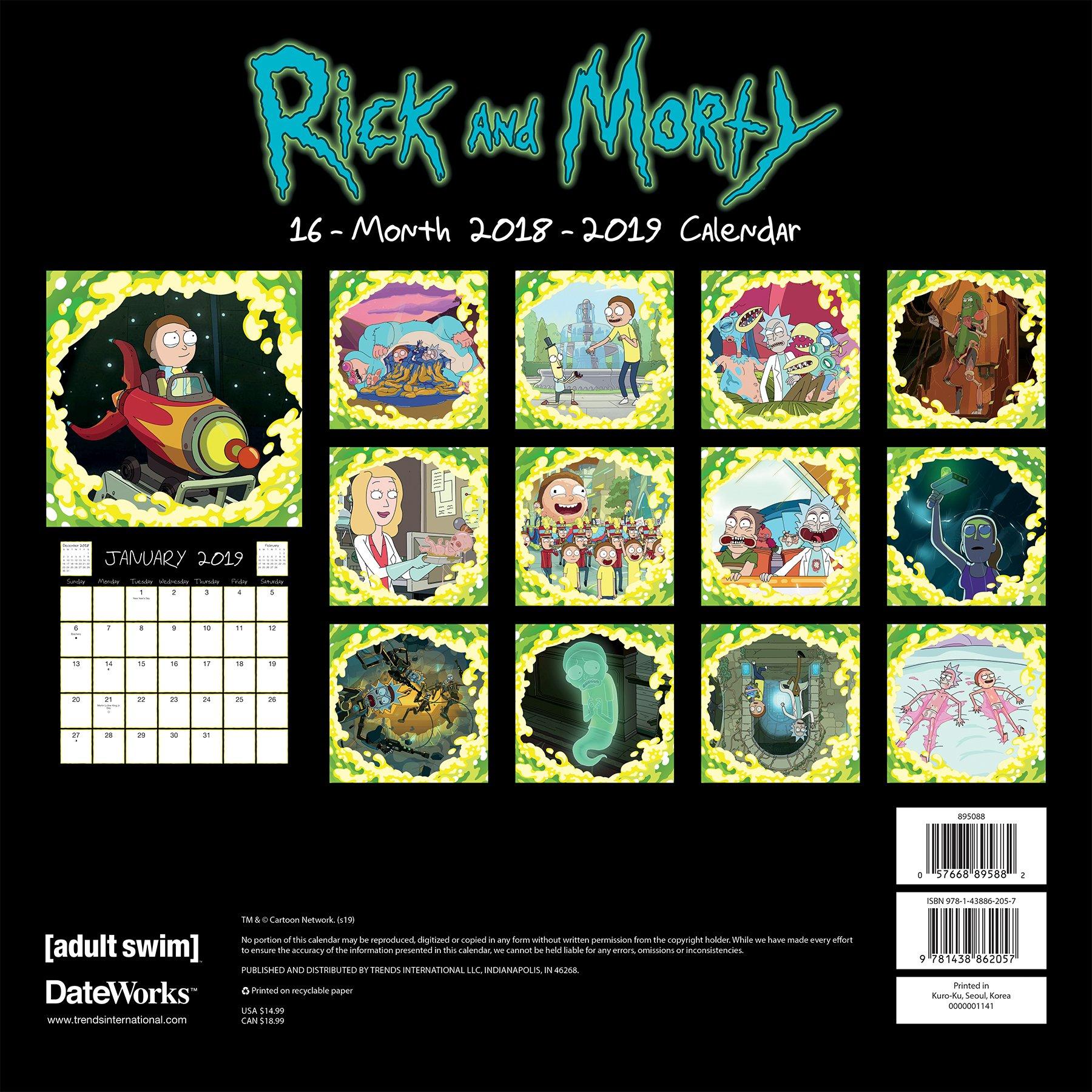 Calendario Coop 2020.2019 Rick And Morty Wall Calendar Trends International