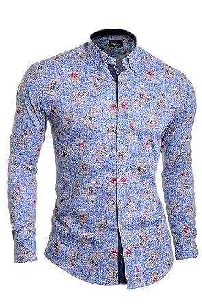 c9fd198e18 D R Fashion Cipo   Baxx Hombre Camisa Casual Patrón Flores Manga Larga  Algodón Ajustado Azul  Amazon.es  Ropa y accesorios